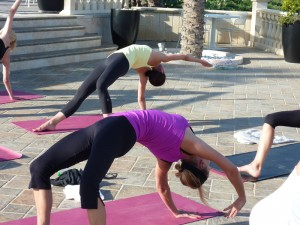 Wild thing pose at the yoga retreat in Italy.