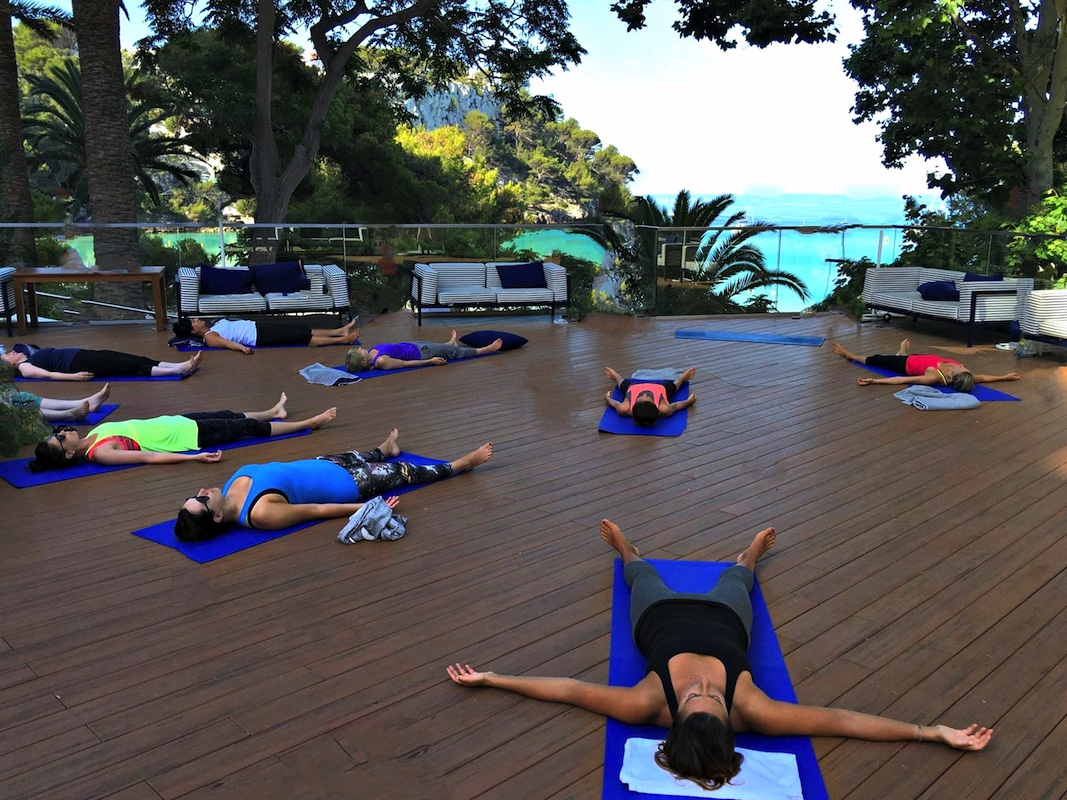 yin yoga meditation in menorca spain with yoga escapes
