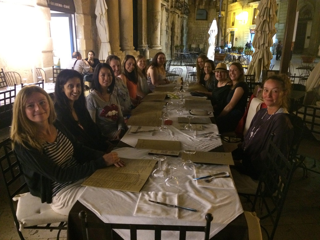 Yoga Escapes guests enjoy lunch in Sicily