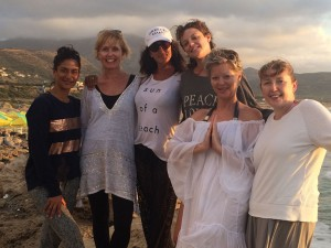 The yoga group on Falasarna beach in Crete.