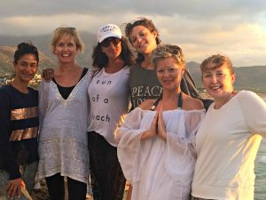 yoga group on falasarna beach in crete greece with yoga escapes