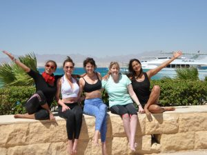 The yoga group pose at the retreat in Egypt.