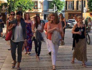 yoga group walking around ciutadella town