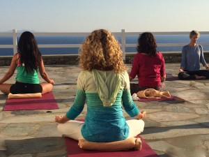 Sunset Yoga Meditation in Mykonos Greece