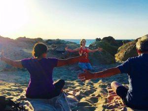 yoga on falasarna beach in crete greece on a luxury yoga retreat