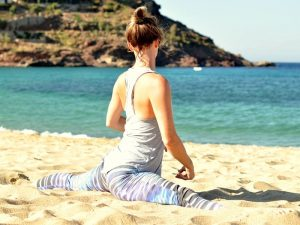 yoga splits in mykonos greece on a yoga retreat