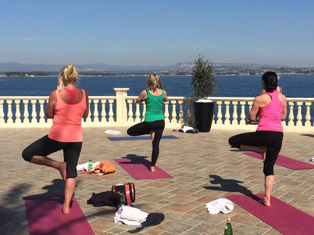 Yoga stance in Sicily Yoga Retreat
