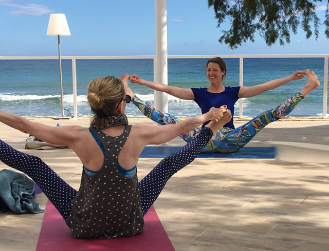 Yoga Wide Legged Pose in Crete