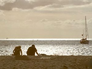 dusk on the beach in in the canary islands on a yoga retreat