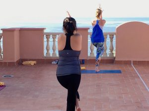 eagle pose in tenerife on a yoga retreat in the canary islands