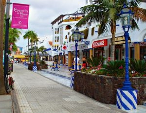 Street view of a town in Tenerife Canary Islands.