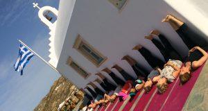 legs up the church on our luxury yoga retreat in mykonos greece