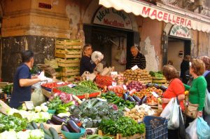 sicily visit to an outdoor market on a yoga retreat