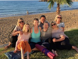 yoga group after yin yoga class in crete greece