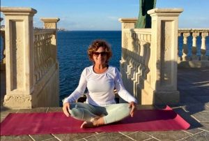 yoga on our terrace in sicily with yoga escapes
