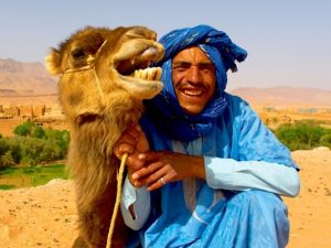 man with a camel in morocco