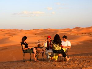 relaxing in the desert in morocco