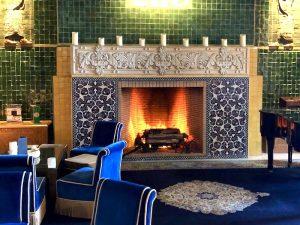 fireplace at the es saadi resort on a morocco yoga retreat