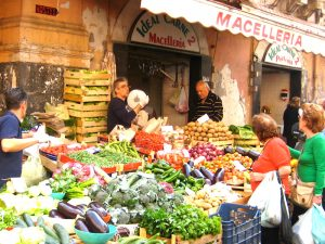 street market in sicily on a luxury yoga holiday in italy