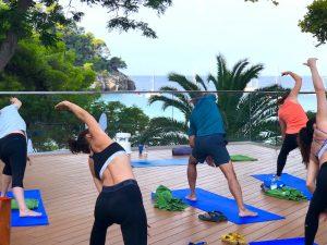 side stretching luxury yoga retreat menorca spain
