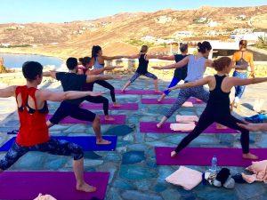 warrior-one-pose-mykonos-yoga-retreat