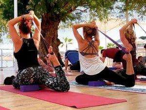backbends on a yoga retreat in crete greece