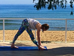 hamstring stretch on a yoga retreat in crete greece with yoga escapes