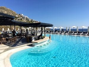 pool at the 5 star hotel in mykonos greece on a luxury yoga retreat with Yoga Escapes