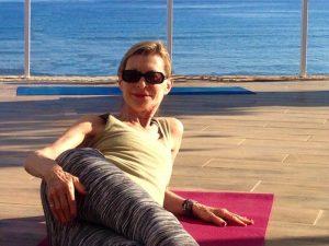 relaxing before yoga class on a luxury yoga retreat in crete greece
