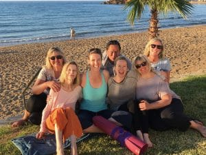 yoga group after evening yoga in crete greece